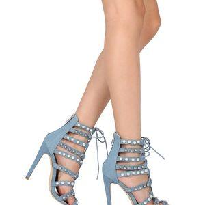 Cape Robbin Meg-40 Denim caged heels size 8.5